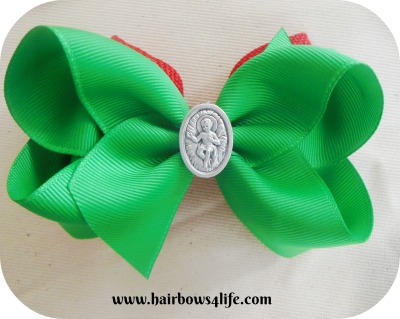 Red & Green Double Stacked Christmas Baby Jesus Bow