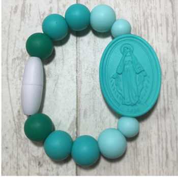 Turquoise Ombre Miraculous Medal Bracelet (Size 1)