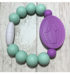 Mint and Purple Miraculous Medal Bracelet (Size 1)