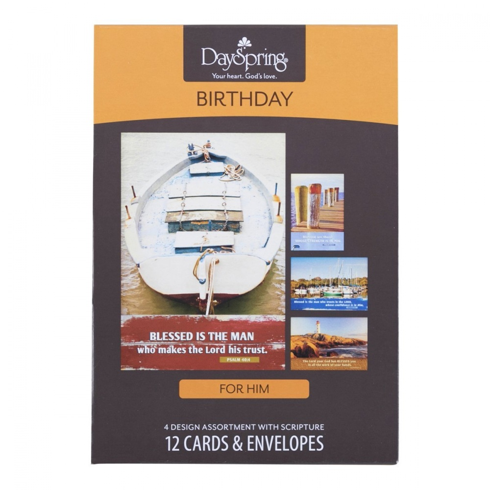 Masculine Nautical Birthday Boxed Greeting Cards 12 Count With Embossed Envelopes
