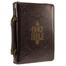 "Brown Embossed ""Holy Bible"" Bible Cover (Medium)"