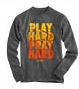 Play Hard, Pray Hard, Long Sleeve Shirt, Gray, X-Large