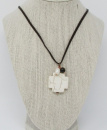 White Cross Leather Necklace
