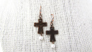 Hammered Cross Copper Earrings