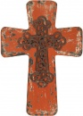Vintage Distressed Wood Cross -Red