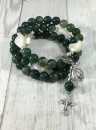 Our Lady of the Woods Rosary Bracelet  (Moss Agate)