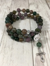 Our Lady of Lourdes Rosary Bracelet (Fancy Jasper with Lava Beads)
