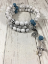 Our Lady of Peace Rosary Bracelet (Howlite with Lava Beads)