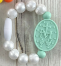 Pearl and Mint Miraculous Medal Bracelet (Size 1)