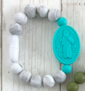 Marble Gray & Turquoise St. Benedict Bracelet (Size 2)