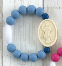 Powder Blue & Navy Our Lady Undoer of Knots Bracelet (Size 2)