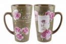 With God Roses Latte Coffee Mug
