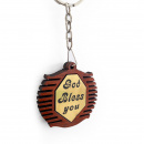 God Bless You Wooden Key Chain