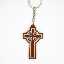 Dark Wood Cross Key Chain