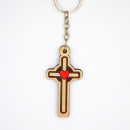 Wooden Cross with Heart Key Chain
