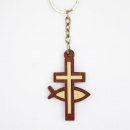 Wooden Ichthus & Cross Key Chain