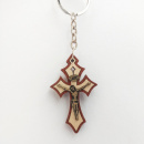 Light Wood Crucifix Key Chain