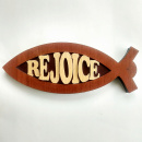 Rejoice Fish Shaped Wood Plaque