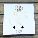 Black Stone Cross Earrings