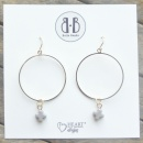 Light Grey Stone Cross Earrings