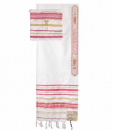 12 Tribes Pink Tallit Acrylic Prayer Shawl 22 inches