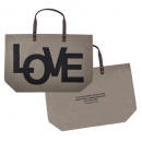 Love Jute Tote Bag (Grey Burlap)