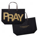 PRAY: 1 Thessalonians 5:16-18 Jute Tote Bag