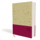 NIV Beautiful Word Bible--soft leather-look, taupe/cranberry