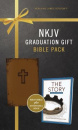 "Graduation Gift Bible Pack: Brown NKJV Bible Plus ""The Story"" Devotional Book"