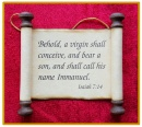 Scripture Scroll Ornament: Isaiah 7:14