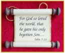 Scripture Scroll Ornament: John 3:16