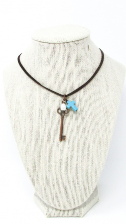 Key & Turquoise Cross Necklace