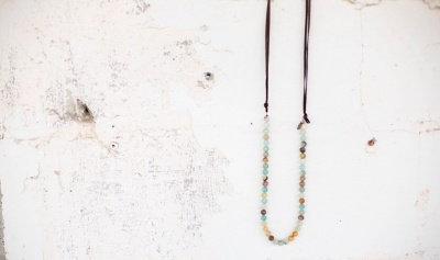 Leather & Stone Necklace (Assorted)