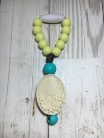 Yellow and Turquoise St. Therese and Sts. Zelie & Louis Mini Decade