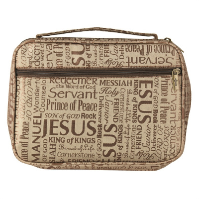 Names Of Jesus Bible Cover (Brown, XXL)