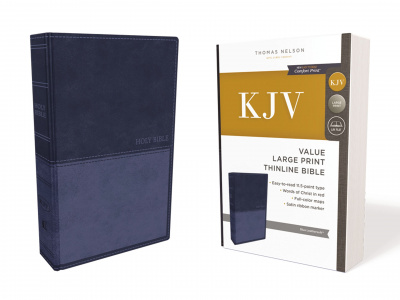 KJV Thinline Bible (Large Print, Leathersoft, Blue)