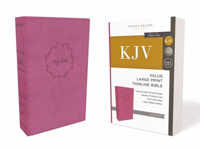 KJV Thinline Bible (Large Print, Leathersoft, Pink)