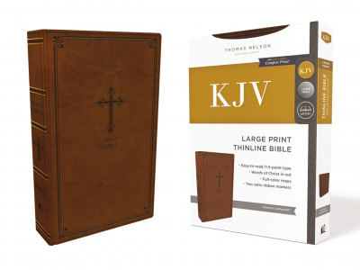 KJV Thinline Bible (Large Print, Leathersoft, Brown)